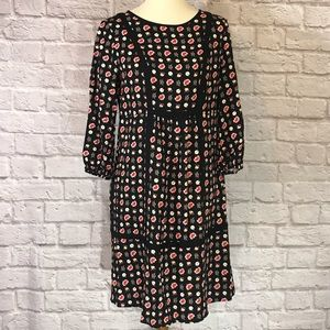 Boden black/red/pink print dress size 6R